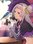 1girl bangs bird bird_on_finger black_capelet black_gloves black_headwear blunt_bangs capelet commentary_request crop_top from_side gloves hair_bun hair_ornament hat highres hololive long_hair long_sleeves mikan_(chipstar182) murasaki_shion one_side_up silver_hair smile solo striped striped_legwear tilted_headwear vertical-striped_legwear vertical_stripes virtual_youtuber witch_hat yellow_eyes