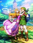 1boy 1girl bird blonde_hair boots dress earrings fingerless_gloves gate genzoman gloves green_headwear jewelry link long_hair looking_at_another looking_at_viewer master_sword mountain path pink_dress pointy_ears princess_zelda shield temple the_legend_of_zelda the_legend_of_zelda:_ocarina_of_time tree triforce water white_legwear