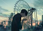 1boy amusement_park bangs black_eyes black_hair black_shirt building clouds cloudy_sky collared_shirt commentary condensation_trail crying crying_with_eyes_open english_commentary evening ferris_wheel grey_sky hand_up jiwataneho looking_away looking_down open_mouth orange_sky original outdoors roller_coaster shirt short_hair sky solo sunset tears upper_body