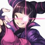 1girl bangs black_hair black_shirt blunt_bangs breasts drill_hair fingerless_gloves gloves glowing glowing_eye grin han_juri highres korean_commentary long_sleeves looking_at_viewer pink_eyes shirt short_hair sidelocks simple_background sketch smile solo sookmo street_fighter street_fighter_v teeth twin_drills upper_body white_background