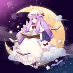 blush book bow eyebrows eyebrows_visible_through_hair fujii_shino hat highres holding holding_book long_hair looking_at_viewer moon patchouli_knowledge purple_hair sitting star touhou violet_eyes