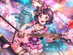 bang_dream! black_hair blush dress guitar red_eyes short_hair smile ushigome_rimi