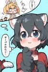 2girls afterimage animal_ear_fluff animal_ears bare_shoulders black_hair blonde_hair blue_eyes blush bow cat_ears cat_tail collar commentary_request elbow_gloves extra_ears eyebrows_visible_through_hair gloves highres kaban_(kemono_friends) kemono_friends kemonomimi_mode multiple_girls no_hat no_headwear paw_gloves paws ransusan red_bow red_collar red_shirt serval_(kemono_friends) serval_ears serval_print serval_tail shirt short_hair short_sleeves sleeveless t-shirt tail tail_bow tail_wagging thought_bubble translation_request white_shirt