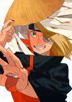1boy akatsuki_(naruto) akatsuki_uniform artificial_eye blonde_hair blue_eyes deidara eyepatch forehead_protector hair_over_one_eye hand_up happy hat hat_removed headwear_removed highres iwagakure_symbol jewelry long_hair male_focus mechanical_eye mouth naruto naruto_(series) naruto_shippuuden ninja one_eye_covered oriharaizaya0111 otoko_no_ko ponytail ring smile solo teeth tied_hair tongue