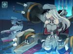 2girls absurdres anchor artist_logo bismarck_(kantai_collection) black_gloves blonde_hair breasts cannon capelet commentary_request cowboy_shot detached_sleeves edel_(edelcat) gloves graf_zeppelin_(kantai_collection) grey_eyes hat highres kantai_collection large_breasts long_hair machinery military military_hat military_uniform multiple_girls peaked_cap sidelocks standing turret twintails uniform