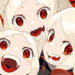 3girls :d animal_ears blush cerberus_(helltaker) collared_shirt demon_girl dog_ears dog_girl fang formal hamelon310 heart helltaker highres long_hair looking_at_viewer matching_outfit multiple_girls open_mouth red_background red_eyes red_shirt shirt siblings silver_hair simple_background sisters smile triplets white_hair