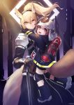 2girls :d absurdres animal_ear_fluff animal_ears animal_ears_helmet arknights armor artist_name atgyu bangs black_gloves blonde_hair brown_eyes brown_hair carrying commentary_request cowboy_shot eyebrows_visible_through_hair fire_helmet fire_jacket firefighter gloves hair_between_eyes headphones headset highres horse_ears horse_tail hug knee_pads korean_commentary large_tail looking_at_viewer multiple_girls nearl_(arknights) open_mouth oxygen_tank pauldrons ponytail shaw_(arknights) short_hair shoulder_pads smile squirrel_girl squirrel_tail standing tail white_armor