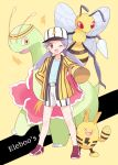 1girl ;d antennae baseball_cap beedrill blue_shirt brown_eyes character_name commentary_request creature dot_nose elekid full_body gen_1_pokemon gen_2_pokemon hand_on_hip hat holding holding_megaphone insect_wings jacket lightning_bolt long_hair meganium megaphone mei_(maysroom) nanako_(pokemon) one_eye_closed open_mouth outstretched_arm pokemon pokemon_(anime) pokemon_(classic_anime) pokemon_(creature) purple_hair shirt shorts smile standing striped striped_jacket striped_shorts twintails white_shorts wings yellow_background yellow_jacket