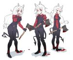3girls 7_ura_6 :d animal_ears axe black_gloves black_legwear black_neckwear black_pants black_suit black_tail black_vest blood blood_on_face blood_on_ground bloody_clothes bloody_weapon blush breasts cerberus_(helltaker) collared_shirt demon_girl demon_tail dog_ears dog_girl fang formal full_body gloves helltaker holding holding_axe long_hair looking_at_viewer low-tied_long_hair matching_outfit multiple_girls necktie neckwear open_mouth pants pointing pointing_at_viewer red_eyes red_shirt shirt siblings silver_hair simple_background sisters small_breasts smile smirk standing suit sweat sweatdrop tail triplets very_long_hair vest weapon white_background white_hair