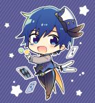 1boy belt black_feathers blue_background blue_eyes blue_hair blue_headwear blue_vest card chibi circus club_(shape) diamond_(shape) facial_tattoo gloves hat hat_feather holding holding_knife kaito knife looking_at_viewer magical_mirai_(vocaloid) male_focus open_mouth pants playing_card sinaooo smile spade_(shape) star striped striped_background tattoo throwing_knife vest vocaloid weapon white_gloves
