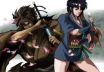 1boy 1girl bangs black_hair brown_kimono circlet hagitotoro holding holding_sword holding_weapon japanese_clothes juubei_ninpuuchou kagerou_(juubei_ninpuuchou) katana kibagami_juubee kimono kunai parted_bangs sheath sheathed sidelocks simple_background standing sword weapon wide_sleeves