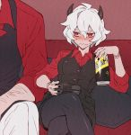 1boy 1girl black_horns black_legwear black_vest blush breasts buttons can collared_shirt controller couch crossed_legs demon_girl demon_horns formal helltaker helltaker_(character) highres holding holding_can horns malina_(helltaker) nagiko_(mangalove1111) nail_polish pants playing_games red_eyes red_shirt shirt short_hair sitting sleeves_rolled_up suit tail vest wavy_mouth white_hair white_pants
