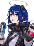 1girl arknights black_gloves black_jacket blue_eyes blue_hair blue_tongue can eyebrows_visible_through_hair foreshortening fur-trimmed_jacket fur_trim gloves halo harlequin-wheels highres holding holding_can horns jacket long_hair long_sleeves looking_at_viewer mostima_(arknights) mountain_dew outstretched_hand reaching_out signature simple_background soda soda_can solo tongue tongue_out white_background white_gloves