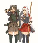 2girls armband arrow_(projectile) blush boots bow bow_(weapon) brown_gloves brown_hakama closed_mouth flight_deck gloves green_hair hair_ribbon hakama hakama_skirt headband holding holding_bow_(weapon) holding_weapon japanese_clothes kantai_collection long_hair multiple_girls muneate one_eye_closed partly_fingerless_gloves quiver red_hakama ribbon rigging rubbing_eyes shoukaku_(kantai_collection) simple_background single_glove smoke tasuki thigh-highs thigh_boots twintails weapon weidashming white_background white_hair younger yugake zuikaku_(kantai_collection)
