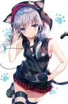 1girl animal_ear_fluff animal_ears armpits bare_arms bare_shoulders black_jacket blue_eyes breasts cable cat_ears cat_tail commentary_request earphones fang hair_ornament hairclip hand_in_pocket hand_up highres hood hooded_jacket huwali_(dnwls3010) jacket leg_up loafers long_hair looking_at_viewer low_twintails miniskirt original paw_background pleated_skirt red_skirt shoes silver_hair skirt sleeveless sleeveless_jacket small_breasts smile solo striped striped_legwear tail tail_raised thigh-highs twintails white_background zettai_ryouiki