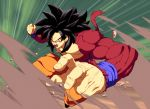 1boy abs bare_chest black_hair derivative_work dougi dragon_ball dragon_ball_fighterz dragon_ball_gt eyeshadow fur highres long_hair looking_at_viewer makeup male_focus monkey_boy monkey_tail muscle open_mouth pose red_eyeshadow red_fur screencap_redraw serious shirtless shouting solo son_gokuu spiky_hair super_saiyan super_saiyan_4 tail tasaka_shinnosuke wristband yellow_eyes