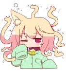1girl animal_ear_fluff animal_ears bangs bell bell_collar blonde_hair blush brown_collar collar collared_shirt cropped_torso eyebrows_visible_through_hair fox_ears gorgon green_pajamas green_shirt hand_up jingle_bell kemomimi-chan_(naga_u) long_hair long_sleeves looking_at_viewer naga_u one_eye_closed original pajamas red_eyes shirt sleepy sleeves_past_fingers sleeves_past_wrists solo upper_body waking_up