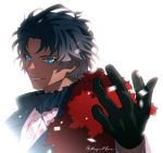 1boy artist_name bartholomew_roberts_(fate/grand_order) black_gloves black_hair blue_eyes blurry close-up dark_skin dark_skinned_male fate/grand_order fate_(series) fur_collar gloves gradient_hair jewelry light looking_at_viewer male_focus meiji_ken multicolored_hair open_hand red_fur shadow shirt smile solo upper_body white_background white_shirt