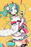aqua_eyes aqua_hair bare_shoulders battery cable chi_ya commentary_request cowboy_shot detached_sleeves diffraction_spikes english_commentary goodsmile_racing hair_ornament hatsune_miku headphones headset highres holding impact_wrench japanese_clothes kimono long_hair looking_at_viewer open_mouth racing_miku racing_miku_(2020) shorts smile smiley sparkle thigh_tattoo twintails very_long_hair vocaloid white_kimono white_sleeves yellow_background