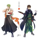 2boys achilles_(fate) alternate_costume annoyed baggy_clothes bangs black_gloves black_scarf brown_hair closed_mouth eyebrows_visible_through_hair facepaint facial_hair facial_mark fate/apocrypha fate/grand_order fate_(series) full_body gloves goatee goya_(xalbino) green_hair green_kimono hagoita hector_(fate/grand_order) highres holding japanese_clothes kimono looking_at_viewer male_focus multiple_boys paddle paint paint_on_face sandals sash scarf signature standing white_background wide_sleeves yellow_eyes