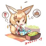 1girl :d animal_ears bangs barefoot blonde_hair brown_eyes cake chibi commentary_request dated dress eyebrows_visible_through_hair food fox_ears fox_girl fox_tail fruit full_body hair_ornament hairclip holding long_sleeves open_mouth original parfait red_dress short_hair slice_of_cake smile solo sparkle spoken_food standing strawberry strawberry_shortcake swept_bangs tail thought_bubble watering watering_can white_background wide_sleeves yuuji_(yukimimi)
