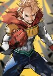 1boy absurdres anger_vein angry bara blonde_hair blue_eyes blue_pants bodysuit boku_no_hero_academia cape chest clenched_hand covered_abs fighting_stance gloves highres long_sleeves looking_at_viewer male_focus muscle pants red_gloves simple_background solo standing teeth thighs tight toogata_mirio torn_cape torn_clothes upper_body veins yoshio_(55level)