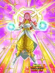 1girl bare_shoulders boots breasts card_(medium) chronoa circlet dragon_ball_heroes dragon_ball_xenoverse earrings energy_ball halo highres jewelry large_breasts long_hair official_art older pants pink_hair pink_skin pointy_ears potara_earrings shirt solo sparkle white_footwear white_shirt yellow_eyes yellow_pants