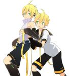 2boys arm_warmers bare_shoulders behind_another belt black_collar black_shorts black_sleeves blonde_hair collar d_futagosaikyou detached_sleeves dual_persona feet_out_of_frame from_side hands_on_another's_back headphones high_collar highres kagamine_len kagamine_len_(append) leaning_forward leg_warmers looking_at_another male_focus multiple_boys navel neckerchief necktie open_mouth sailor_collar school_uniform shirt short_ponytail short_sleeves shorts sleeveless sleeveless_shirt smile spiky_hair standing vocaloid vocaloid_append white_shirt