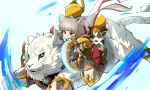 1girl :d absurdres animal_ears bangs blue_eyes byakko_(xenoblade) cat_ears chakram dagger facial_mark full_body gloves highres niyah open_mouth re_saisei riding short_hair silver_hair smile swinging tiger weapon white_gloves white_tiger xenoblade_(series) xenoblade_2 yellow_eyes