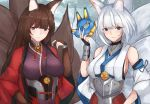 2girls absurdres amagi_(azur_lane) animal_ears azur_lane bare_shoulders blue_eyes blush breasts brown_hair detached_sleeves fox_ears fox_girl fox_mask fox_tail grin hair_between_eyes hand_up haori highres holding holding_mask huge_filesize japanese_clothes kaga_(azur_lane) kaga_(battleship)_(azur_lane) kimono kitsune large_breasts long_hair looking_at_viewer mask medium_breasts medium_hair multiple_girls multiple_tails outdoors parted_lips purple_kimono silver_hair smile tail upper_body very_long_hair violet_eyes wide_sleeves yusha_(m-gata)