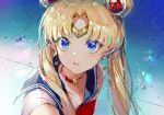 1girl bangs bishoujo_senshi_sailor_moon blonde_hair blue_eyes blue_sailor_collar bow choker circlet collarbone commentary crescent crescent_earrings derivative_work double_bun earrings eyebrows_visible_through_hair hair_ornament hair_over_shoulder heart heart_choker jewelry kinokohime long_hair parted_bangs parted_lips red_bow red_choker sailor_collar sailor_moon sailor_moon_redraw_challenge sailor_senshi_uniform screencap_redraw shirt sleeveless sleeveless_shirt solo tsukino_usagi twintails upper_body white_shirt