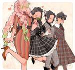 2zxt 4girls bangs bit_gag black_hair braid butterfly_hair_ornament dress flower forehead gag gloves green_hair hair_flower hair_ornament high_heels holding_hands kamado_nezuko kanroji_mitsuri kimetsu_no_yaiba kochou_shinobu long_hair mole mole_under_eye multicolored_hair multiple_girls pants pink_hair plaid plaid_dress ponytail smile tri_braids tsuyuri_kanao two-tone_hair