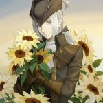 1girl ascot blonde_hair bloodborne blue_eyes cape coat cravat flower gloves hat hat_feather highres holding jewelry lady_maria_of_the_astral_clocktower long_hair looking_at_viewer ponytail simple_background smile solo the_old_hunters tokyo_bay_seal white_hair