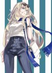 1girl bag blonde_hair blue_eyes blue_scarf breasts closed_mouth commentary_request contemporary denim eyewear_on_head from_below hair_between_eyes high-waist_pants highres jeans jewelry kantai_collection long_hair looking_at_viewer medium_breasts nail_polish necklace pants richelieu_(kantai_collection) ring scarf shoulder_bag simple_background solo striped striped_background sugue_tettou vertical_stripes watch watch