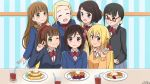 6+girls ;) bangs blonde_hair blush bow bowtie brown_eyes brown_hair character_request closed_eyes commentary_request cup drinking_glass drinking_straw ears flower food green_eyes hair_flower hair_ornament happy highres hitori_bocchi hitoribocchi_no_marumaru_seikatsu honshou_aru long_hair looking_at_viewer multiple_girls one_eye_closed pancake ponytail red_bow school_uniform shirt short_hair smile sotoka_rakita sunao_nako tenkawa_daisou v white_shirt
