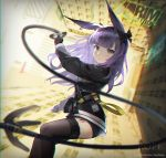 1girl animal_ears arknights artist_name bangs black_bow black_gloves black_jacket black_legwear blurry blush bow breasts character_name chromatic_aberration commentary_request day depth_of_field earrings falling feet_out_of_frame gloves grappling_hook grey_eyes hair_bow highres holding id_card jacket jewelry kuhnowushi logo long_hair long_sleeves medium_breasts open_mouth outdoors pouch purple_hair rabbit_ears rope_(arknights) snap-fit_buckle solo sunlight thigh-highs underwear