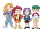 (pokemon) blonde_hair blue_eyes blue_hair butch_kosaburo child green_eyes green_hair highres kiana_mai kojirou_(pokemon) musashi_(pokemon) pokemon pokemon_(anime) redhead team_rocket yamato_cassidy