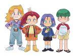 (pokemon) blonde_hair blue_eyes blue_hair butch_kosaburo child green_eyes green_hair highres kiana_mai kojirou_(pokemon) musashi_(pokemon) pokemon pokemon_(anime) redhead team_rocket yamato_cassidy