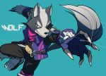 1boy absurdres animal_ears blue_background boots character_name claws eyepatch fami_(yellow_skies) furry grey_fur highres looking_at_viewer male_focus no_humans pants red_eyes simple_background star_fox tail two-tone_fur vambraces vest wolf_boy wolf_ears wolf_o'donnell wolf_tail