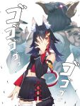 1girl animal_ear_fluff animal_ears bare_shoulders bird black_choker black_hair black_skirt breasts choker commentary_request detached_sleeves eyebrows_visible_through_hair flipped_hair hair_ornament hairclip hatotaur hololive jojo_no_kimyou_na_bouken jojo_pose long_hair long_sleeves looking_at_viewer medium_breasts menacing_(jojo) mikan_(chipstar182) multicolored_hair navel ookami_mio open_mouth pleated_skirt pose redhead simple_background skirt stand_(jojo) streaked_hair tail very_long_hair virtual_youtuber white_background wolf_ears wolf_tail yellow_eyes