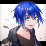 :d androgynous black_jacket blue_eyes blue_hair brown_shirt can canned_coffee hood hood_down ikurikaito jacket leaf looking_at_viewer open_mouth original shirt short_hair smile upper_body white_background