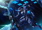 english_commentary gun holding holding_gun holding_weapon launching looking_to_the_side machi_(kjj6997) mecha navy no_humans open_hand original rifle science_fiction sniper_rifle space space_station visor weapon