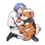 1boy closed_eyes gen_1_pokemon growlithe highres hug kojirou_(pokemon) pokemon pokemon_(anime) pokemon_(creature) smile yaaawny