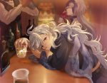 alcohol alternate_costume bar bartender black_shirt blush boba bow bowtie camelot_&_co cocktail_shaker cup drinking drinking_glass drunk faceless faceless_female fate/grand_order fate_(series) holding jeanne_d'arc_(alter)_(fate) jeanne_d'arc_(fate)_(all) long_hair looking_at_viewer male_focus merlin_(fate) scarf shirt sipping smile solo vest violet_eyes white_hair white_shirt