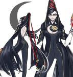 1girl backless_leotard backless_outfit bare_back bayonetta bayonetta_(character) black_hair blue_eyes bodysuit breasts crescent earrings elbow_gloves glasses gloves gun handgun highres jewelry large_breasts leotard lips lipstick long_hair makeup mole mole_under_mouth sketch smile solo tied_hair very_long_hair weapon zillionaire