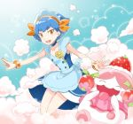 1girl :d aqua_background blue_choker blue_dress blue_hair bracelet choker collarbone commentary_request dress gen_6_pokemon hairband happy jewelry key knees legs_together looking_at_viewer menoko millefeui_(pokemon) open_mouth orange_bracelet orange_hairband outstretched_arms pokemon pokemon_(anime) pokemon_(creature) pokemon_xy_(anime) red_eyes short_hair slurpuff smile teeth tongue upper_teeth