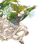 1girl belt bracelet circlet dragon_tail dress fire_emblem fire_emblem_echoes:_shadows_of_valentia fire_emblem_heroes full_body green_eyes green_hair hair_ornament highres horn jewelry long_hair mila_(fire_emblem) nail_polish official_art pointy_ears sandals solo tail teeth transparent_background very_long_hair wings yamada_akihiro