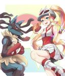 1girl 1other :d absurdres ass bangs bare_shoulders bicycle_helmet bike_shorts blonde_hair blue_eyes blush breasts clenched_hands collarbone commentary cowboy_shot fingerless_gloves gen_4_pokemon gloves gym_leader hair_between_eyes hair_intakes hair_through_headwear helmet highres kano_(mgnnew12) koruni_(pokemon) long_hair looking_at_viewer lucario medium_breasts mega_lucario mega_pokemon mega_stone multicolored multicolored_background open_mouth pokemon pokemon_(creature) pokemon_(game) pokemon_xy ponytail red_eyes roller_skates shirt shorts shorts_under_skirt skates skirt sleeveless sleeveless_shirt smile spikes standing standing_on_one_leg upper_teeth very_long_hair white_footwear white_gloves white_headwear white_shirt white_skirt