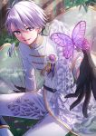 1boy absurdres belt black_gloves bug butterfly dated day gloves happy_birthday highres idolish_7 ikurikaito insect looking_at_viewer male_focus osaka_sougo outdoors pants purple_butterfly sitting smile solo violet_eyes white_hair white_pants