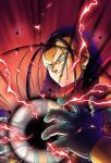 1boy android android_17 bandana black_hair blue_eyes card dragon_ball dragon_ball_gt electricity energy_ball evil evil_grin evil_smile gloves grin hair_slicked_back hell_fighter_17 lightning long_hair male_focus maxiuchiha22 neckerchief no_eyebrows orb portrait red_background red_lightning robot simple_background smile solo super_android_17 vest